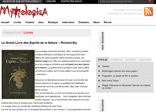 revue de presse livre Mythologica