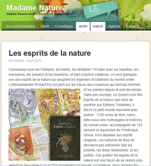 le blog de Madame Nature